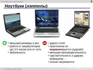 Ноутбуки (лэптопы) * меньшие размеры и вес работа от аккумуляторов (до 3-5 часов