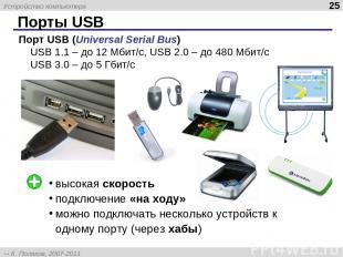 Порты USB * Порт USB (Universal Serial Bus) USB 1.1 – до 12 Мбит/c, USB 2.0 – до