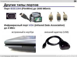 Другие типы портов * Порт IEEE1394 (FireWire) до 1600 Мбит/c Инфракрасный порт I