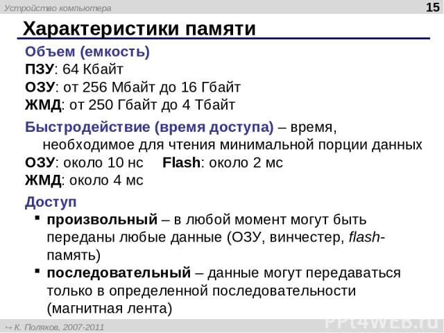 Характеристики памяти * Объем (емкость) ПЗУ: 64 Кбайт ОЗУ: от 256 Мбайт до 16 Гбайт ЖМД: от 250 Гбайт до 4 Тбайт Быстродействие (время доступа) – время, необходимое для чтения минимальной порции данных ОЗУ: около 10 нс Flash: около 2 мс ЖМД: около 4…