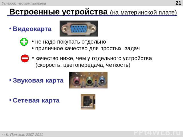 Встроенные устройства (на материнской плате) * Видеокарта Звуковая карта Сетевая карта не надо покупать отдельно приличное качество для простых задач качество ниже, чем у отдельного устройства (скорость, цветопередача, четкость) Устройство компьютер…
