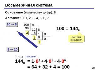 * Восьмеричная система Основание (количество цифр): 8 Алфавит: 0, 1, 2, 3, 4, 5,