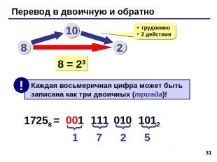 * Перевод в двоичную и обратно 8 10 2 трудоемко 2 действия 8 = 23 17258 = 1 7 2