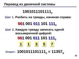 * Перевод из двоичной системы 10010111011112 Шаг 1. Разбить на триады, начиная с