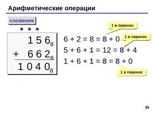 * Арифметические операции сложение 1 5 68 + 6 6 28 1 6 + 2 = 8 = 8 + 0 5 + 6 + 1