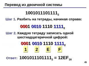 * Перевод из двоичной системы 10010111011112 Шаг 1. Разбить на тетрады, начиная