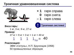 * Троичная уравновешенная система + 1 гиря справа 0 гиря снята – 1 гиря слева Ве