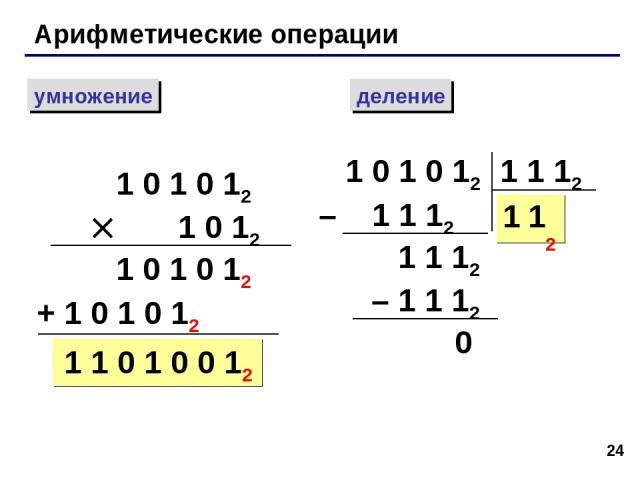 * Арифметические операции умножение деление 1 0 1 0 12 1 0 12 1 0 1 0 12 + 1 0 1 0 12 1 1 0 1 0 0 12 1 0 1 0 12 – 1 1 12 1 1 12 1 1 1 12 – 1 1 12 0