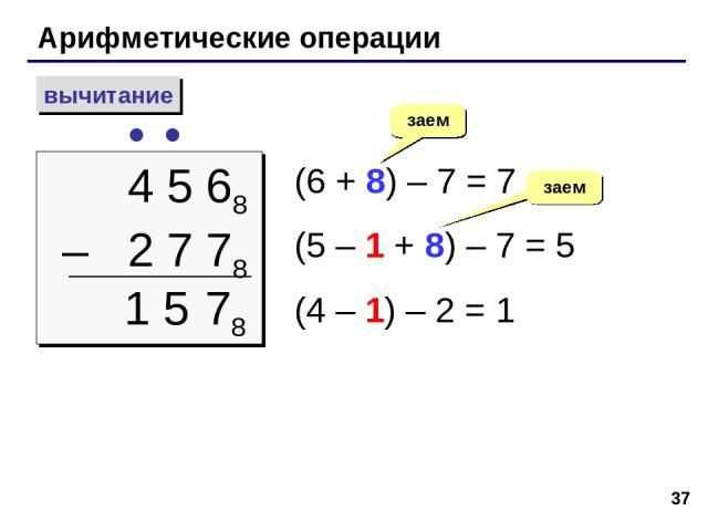 * Арифметические операции вычитание 4 5 68 – 2 7 78 (6 + 8) – 7 = 7 (5 – 1 + 8) – 7 = 5 (4 – 1) – 2 = 1 заем 78 1 5 заем