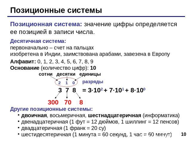 * Позиционные системы Позиционная система: значение цифры определяется ее позицией в записи числа. Десятичная система: первоначально – счет на пальцах изобретена в Индии, заимствована арабами, завезена в Европу Алфавит: 0, 1, 2, 3, 4, 5, 6, 7, 8, 9 …