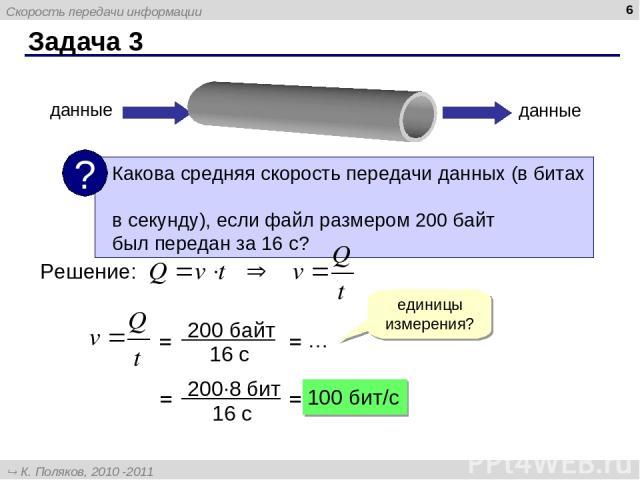 Задача 3 * данные данные Решение: единицы измерения? = = … = = 100 бит/c Скорость передачи информации К. Поляков, 2010 -2011 http://kpolyakov.narod.ru