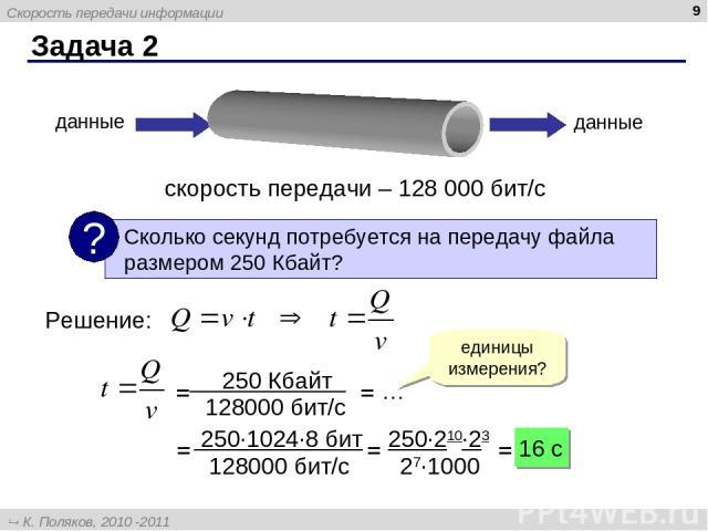 Задача 2 * скорость передачи – 128 000 бит/с данные данные Решение: единицы измерения? = = … = = = 16 c Скорость передачи информации К. Поляков, 2010 -2011 http://kpolyakov.narod.ru