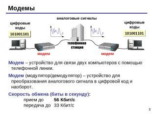 * Модемы аналоговые сигналы цифровые коды цифровые коды 101001101 Модем – устрой