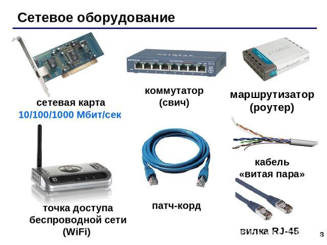* Сетевое оборудование сетевая карта 10/100/1000 Мбит/сек коммутатор (свич) маршрутизатор (роутер) точка доступа беспроводной сети (WiFi) патч-корд вилка RJ-45 кабель «витая пара»