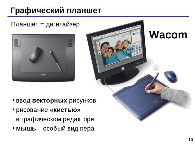* Графический планшет Wacom Планшет = дигитайзер ввод векторных рисунков рисование «кистью» в графическом редакторе мышь – особый вид пера