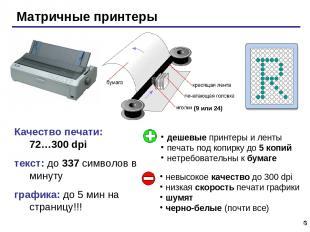 * Качество печати: 72…300 dpi текст: до 337 символов в минуту графика: до 5 мин