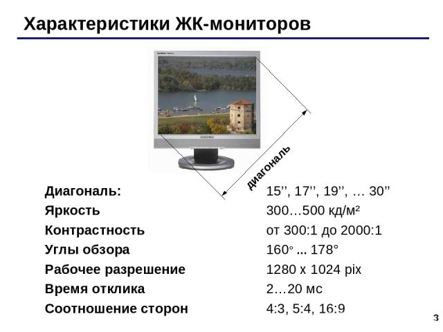 * Характеристики ЖК-мониторов Диагональ: 15'', 17'', 19'', … 30'' Яркость 300…500 кд/м² Контрастность от 300:1 до 2000:1 Углы обзора 160° … 178° Рабочее разрешение 1280 x 1024 pix Время отклика 2…20 мс Соотношение сторон 4:3, 5:4, 16:9