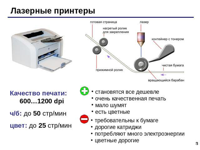 * Качество печати: 600…1200 dpi ч/б: до 50 стр/мин цвет: до 25 стр/мин Лазерные принтеры становятся все дешевле очень качественная печать мало шумят есть цветные требовательны к бумаге дорогие катриджи потребляют много электроэнергии цветные дорогие