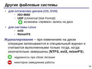 * Другие файловые системы для оптических дисков (CD, DVD) ISO-9660 UDF (Universa
