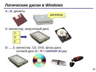 * Логические диски в Windows A:, B: дискеты C: винчестер, загрузочный диск D: …