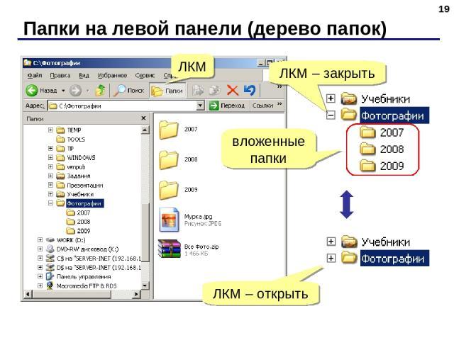 Папки на левой панели (дерево папок) * ЛКМ ЛКМ – закрыть вложенные папки ЛКМ – открыть