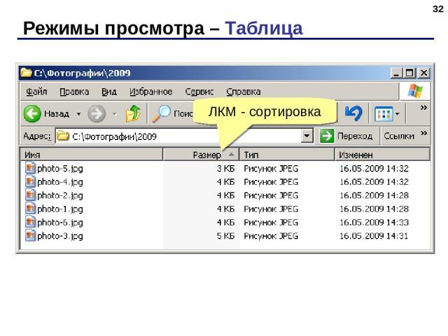Режимы просмотра – Таблица * ЛКМ - сортировка
