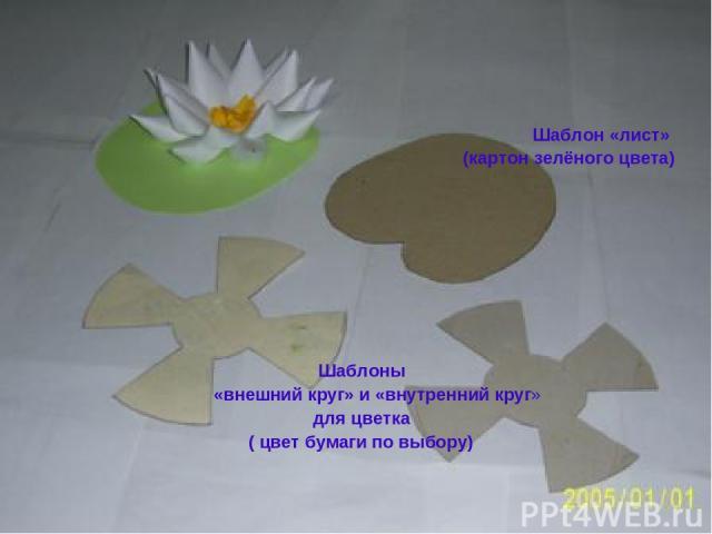Шаблон «лист» (картон зелёного цвета) Шаблоны «внешний круг» и «внутренний круг» для цветка ( цвет бумаги по выбору)