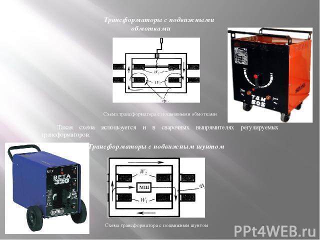 Схема трансформатора с подвижными обмотками Такая схема используется и в сварочных выпрямителях регулируемых трансформаторов. Трансформаторы с подвижными обмотками Трансформаторы с подвижным шунтом Схема трансформатора с подвижным шунтом