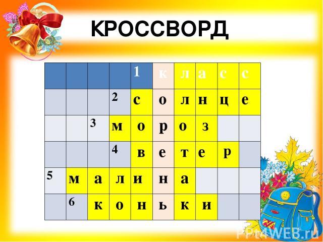 КРОССВОРД     1 к л а с с    2 с о л н ц е   3 м о р о з     4 в е т е р  5 м а л и н а     6 к о н ь к и