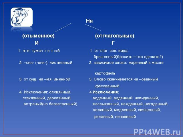 Нн (отыменное) (отглагольные) И Г 1. н+н: туман + н + ый 1. от глаг. сов. вида: брошенный(бросить – что сделать?) 2. –онн- (-енн-): лиственный 2. зависимое слово: жаренный в масле картофель 3. от сущ. на –мя: именной 3. Слово оканчивается на –ованны…