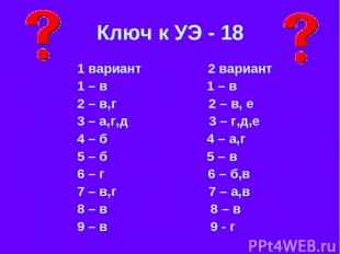 Ключ к УЭ - 18 1 вариант 2 вариант 1 – в 1 – в 2 – в,г 2 – в, е 3 – а,г,д 3 – г,