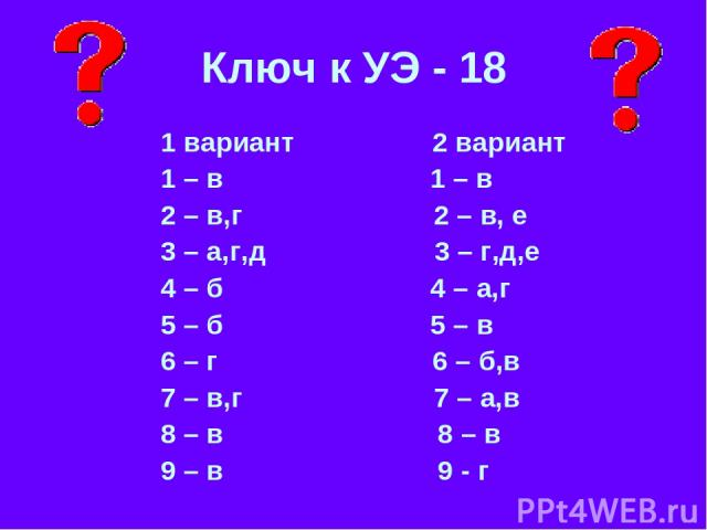 Ключ к УЭ - 18 1 вариант 2 вариант 1 – в 1 – в 2 – в,г 2 – в, е 3 – а,г,д 3 – г,д,е 4 – б 4 – а,г 5 – б 5 – в 6 – г 6 – б,в 7 – в,г 7 – а,в 8 – в 8 – в 9 – в 9 - г