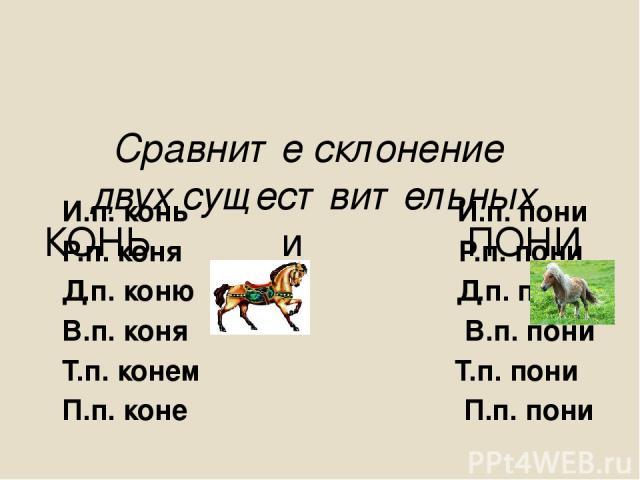 Сравните склонение двух существительных КОНЬ и ПОНИ И.п. конь И.п. пони Р.п. коня Р.п. пони Д.п. коню Д.п. пони В.п. коня В.п. пони Т.п. конем Т.п. пони П.п. коне П.п. пони