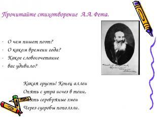 Прочитайте стихотворение А.А. Фета. О чем пишет поэт? О каком времени года? Како