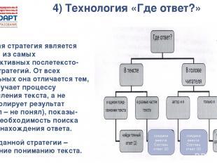 4) Технология «Где ответ?» Данная стратегия является одной из самых эффективных