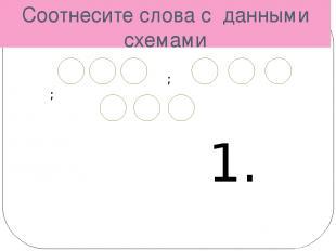 Соотнесите слова с данными схемами ; ; 1. 2. ; ; 3. Прогулка, девочка, карандаш,