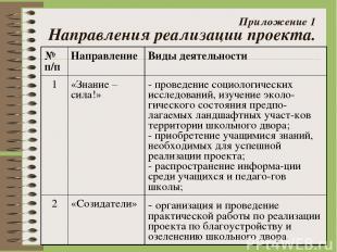 Приложение 1 Направления реализации проекта. № п/п Направление Виды деятельности