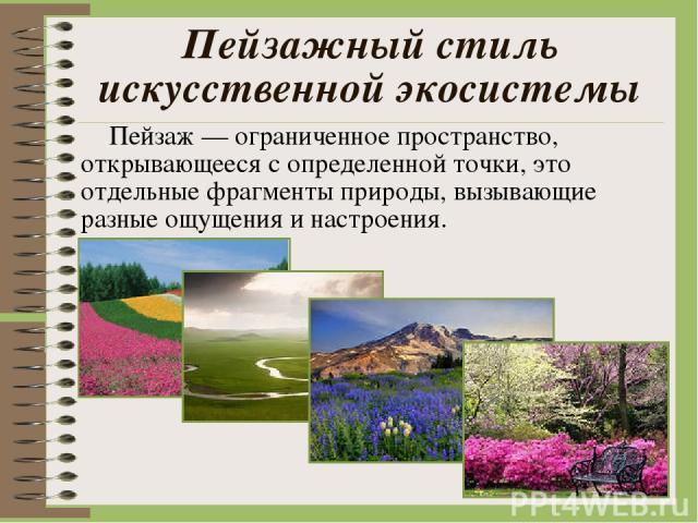 Пейзажный стиль искусственной экосистемы Пейзаж — ограниченное пространство, открывающееся с определенной точки, это отдельные фрагменты природы, вызывающие разные ощущения и настроения.