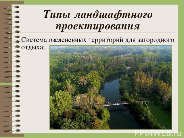 Типы ландшафтного проектирования Система озелененных территорий для загородного отдыха;