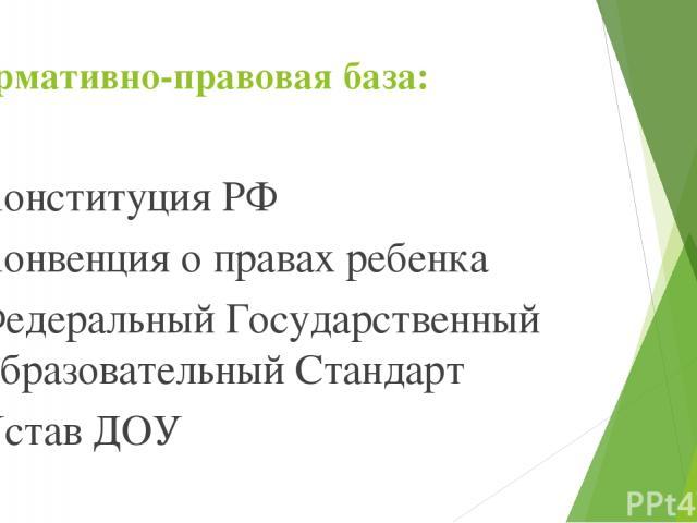 Нормативно-правовая база: Конституция РФ Конвенция о правах ребенка Федеральный Государственный Образовательный Стандарт Устав ДОУ