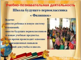 Учебно-познавательная деятельность Школа будущего первоклассника « Филиппок» Зад