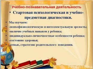 Учебно-познавательная деятельность Стартовая психологическая и учебно-предметная