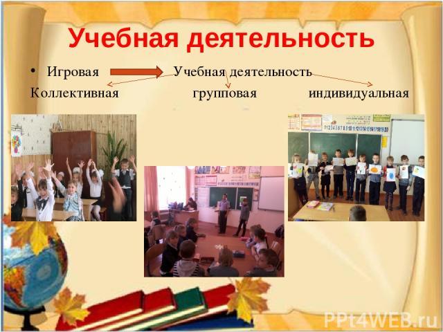 Игровая Учебная деятельность Коллективная групповая индивидуальная Учебная деятельность