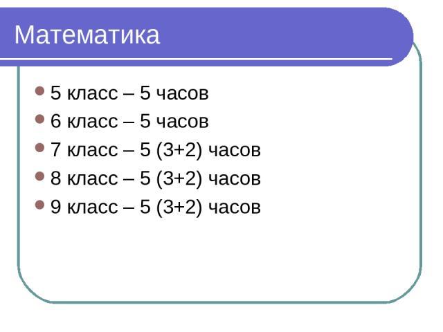 Математика 5 класс – 5 часов 6 класс – 5 часов 7 класс – 5 (3+2) часов 8 класс – 5 (3+2) часов 9 класс – 5 (3+2) часов