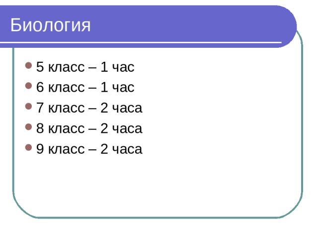 Биология 5 класс – 1 час 6 класс – 1 час 7 класс – 2 часа 8 класс – 2 часа 9 класс – 2 часа
