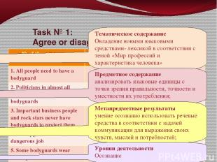 Task № 1: Agree or disagree with some statements on the text and fill in the tab