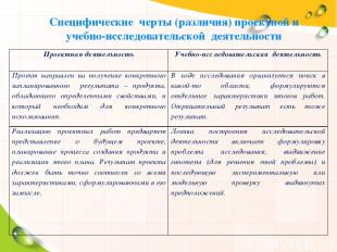 Специфические черты (различия) проектной и учебно-исследовательской деятельности