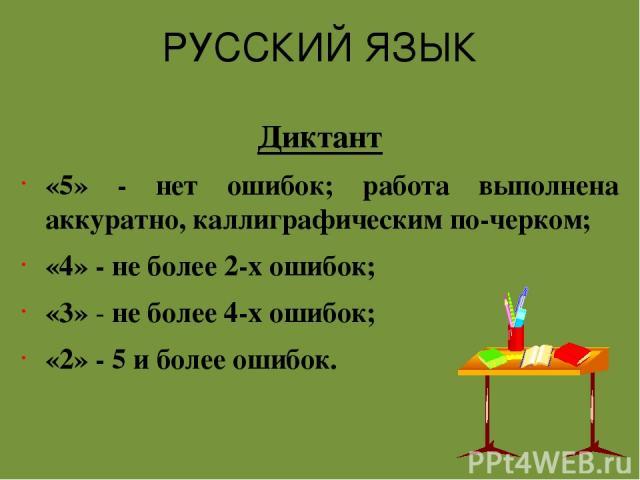 РУССКИЙ ЯЗЫК Диктант «5» - нет ошибок; работа выполнена аккуратно, каллиграфическим по-черком; «4» - не более 2-х ошибок; «3» - не более 4-х ошибок; «2» - 5 и более ошибок.