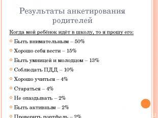 Результаты анкетирования родителей Когда мой ребёнок идёт в школу, то я прошу ег