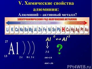 V. Химические свойства алюминия: Алюминий – активный металл? Al Al +3 0 3 ē ок-с